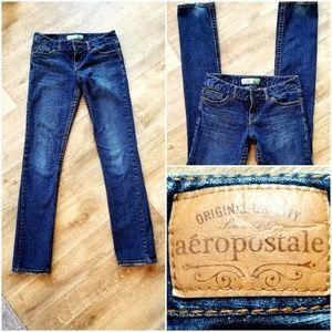 Aeropostale Bayla Skinny Straight Denim Blue Jeans
